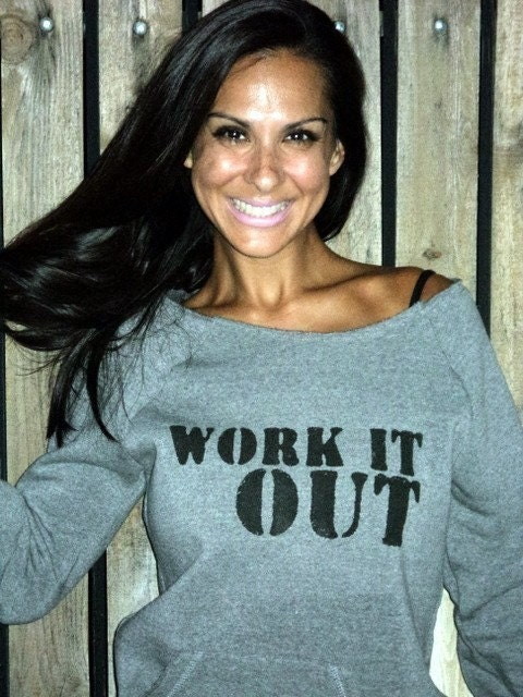 Work It Out.  Off the Shoulder Girly Sweatshirt Size LARGE