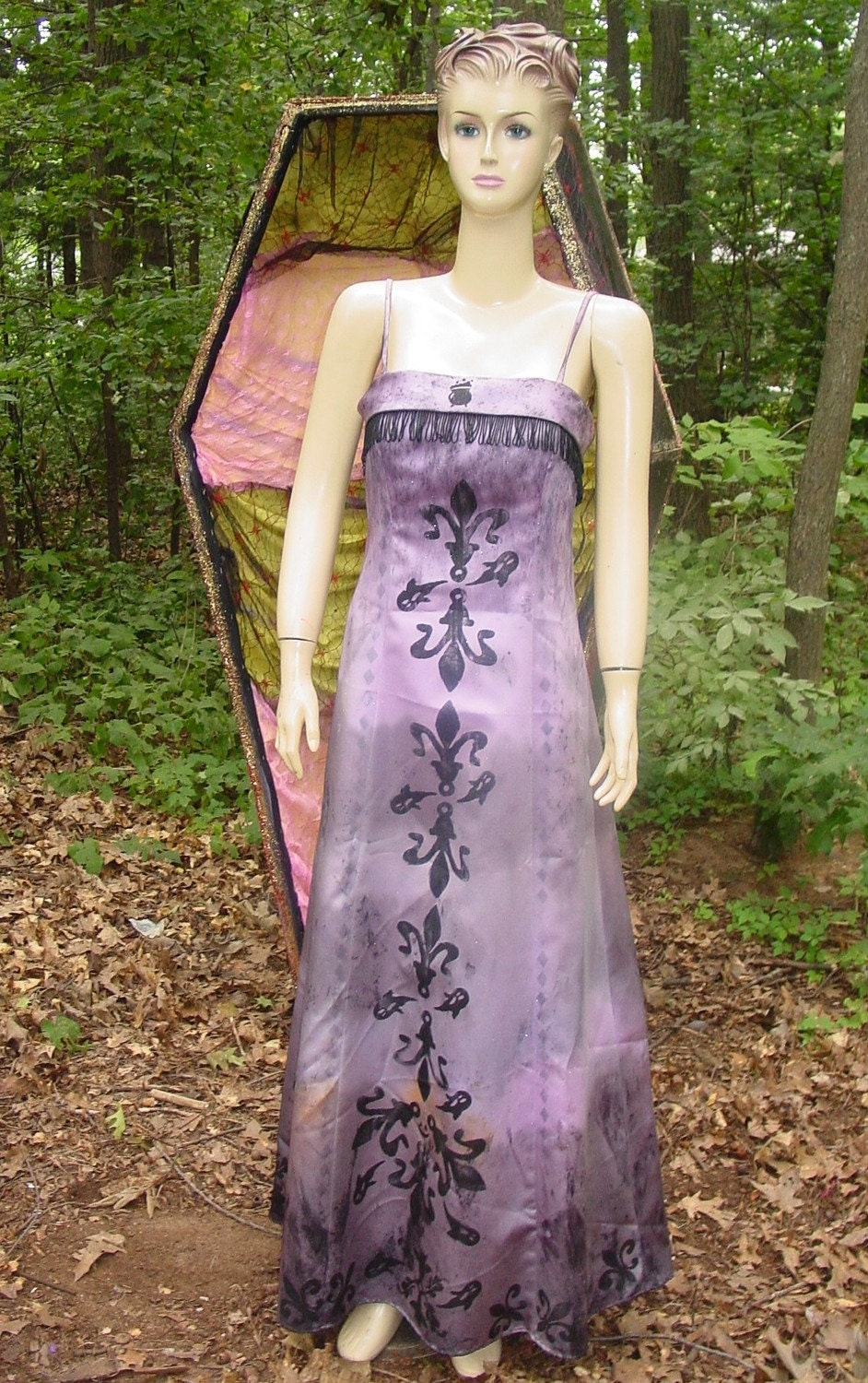 handmade VAMPIRE GOWN with ghosts,spiders and caldron HALLOWEEN COSTUME or zombie prom