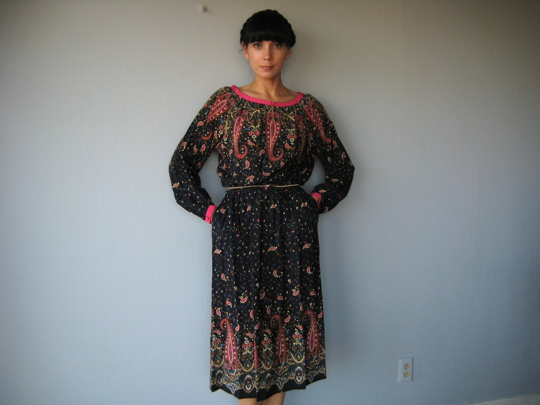 1970s vintage PURE SILK bohemian paisley  dress