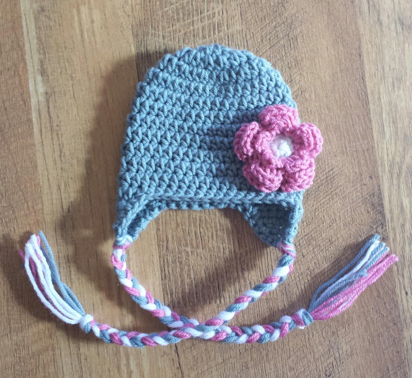 Crochet Beanie Hat With Ear Flaps Pattern : Items similar to Crochet Pattern for Flowered Beanie with ...