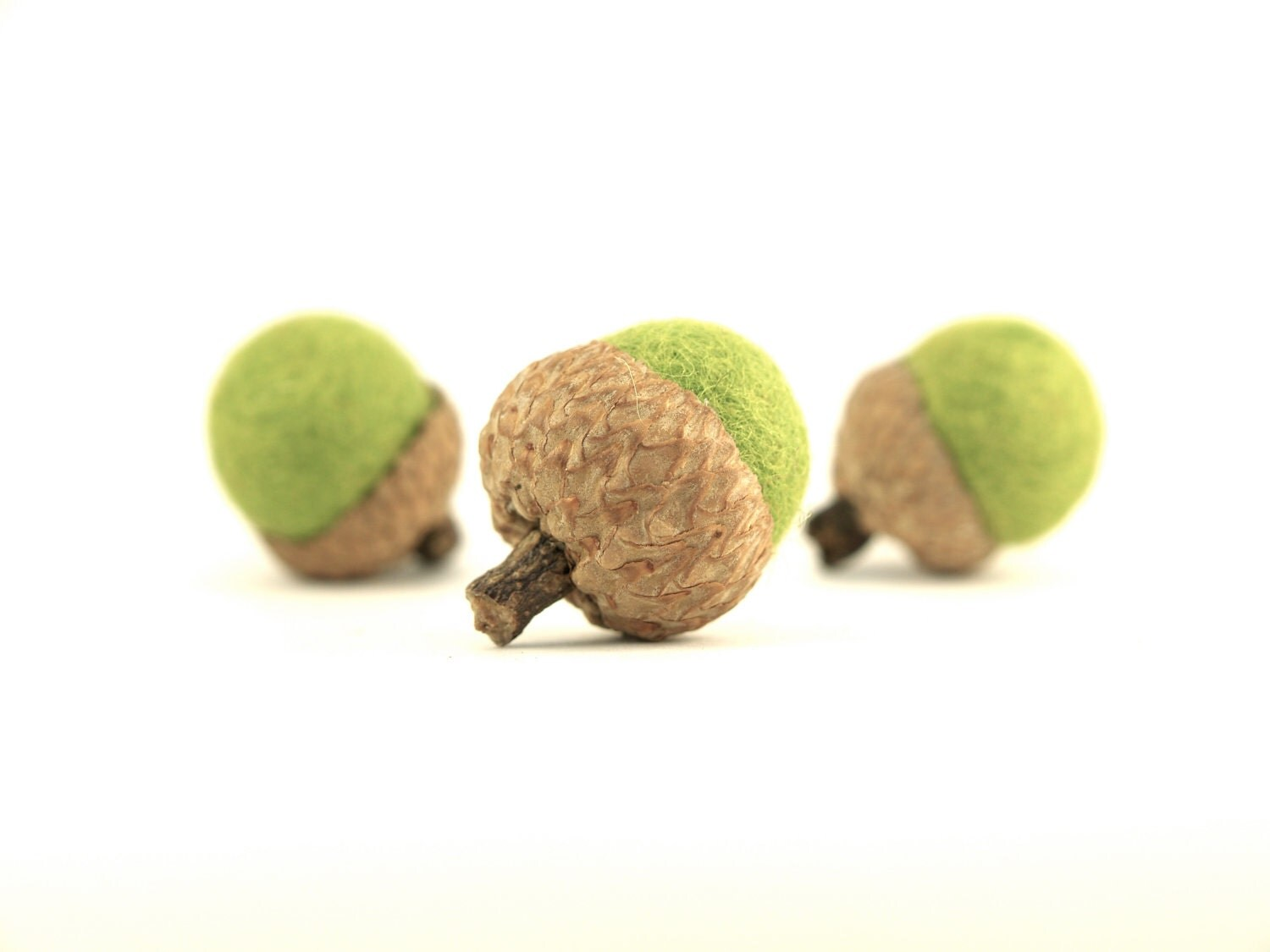 Moss Green Acorns, Needle Felted Woodland Home Decor, Fun and Unique, Stocking Stuffer, 10 - Fairyfolk