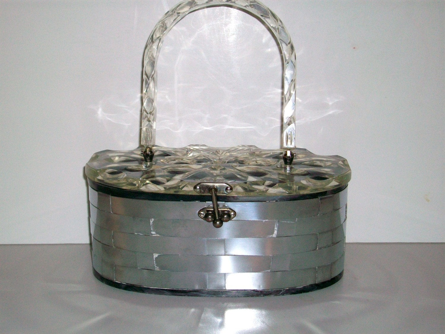 Vintage Handbag - Carved Lucite and Silver Basket  1950s