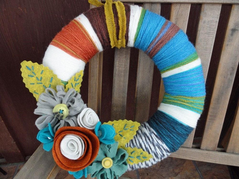 Yarn and Felt Flower Wreath- 10in- Retro Ruth Jr.