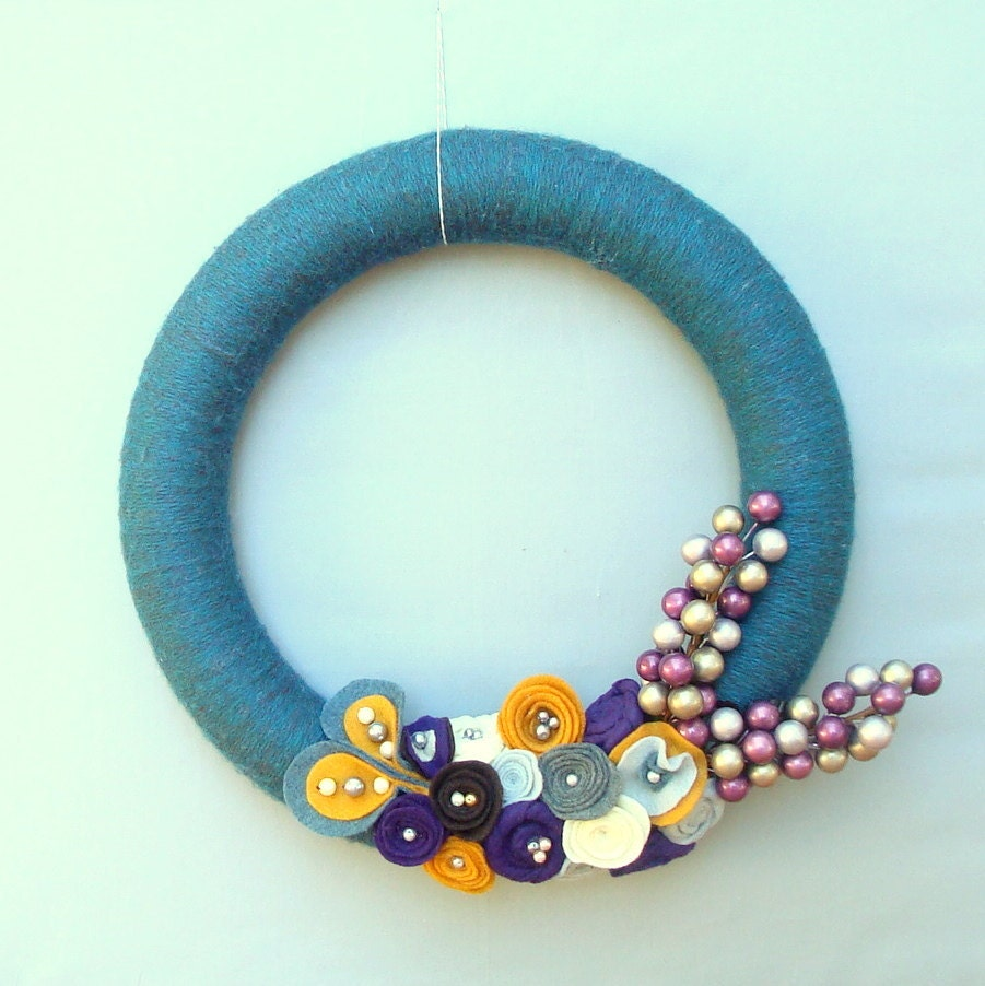 Teal Yarn Wreath Felt Flowers.  CLEARANCE.  Christmas wreath, door wreath.  Blue, purple, brown, marigold, gray and ivory.  14 inches.