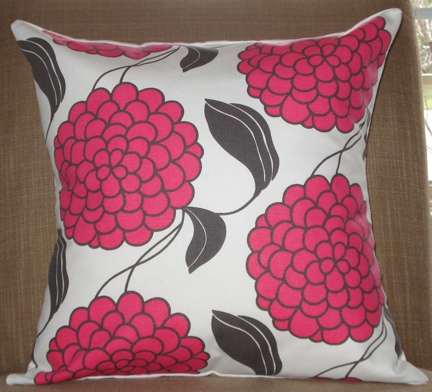 New 18x18 inch Designer Handmade Pillow Case with  pink and charcoal grey flowers on white.