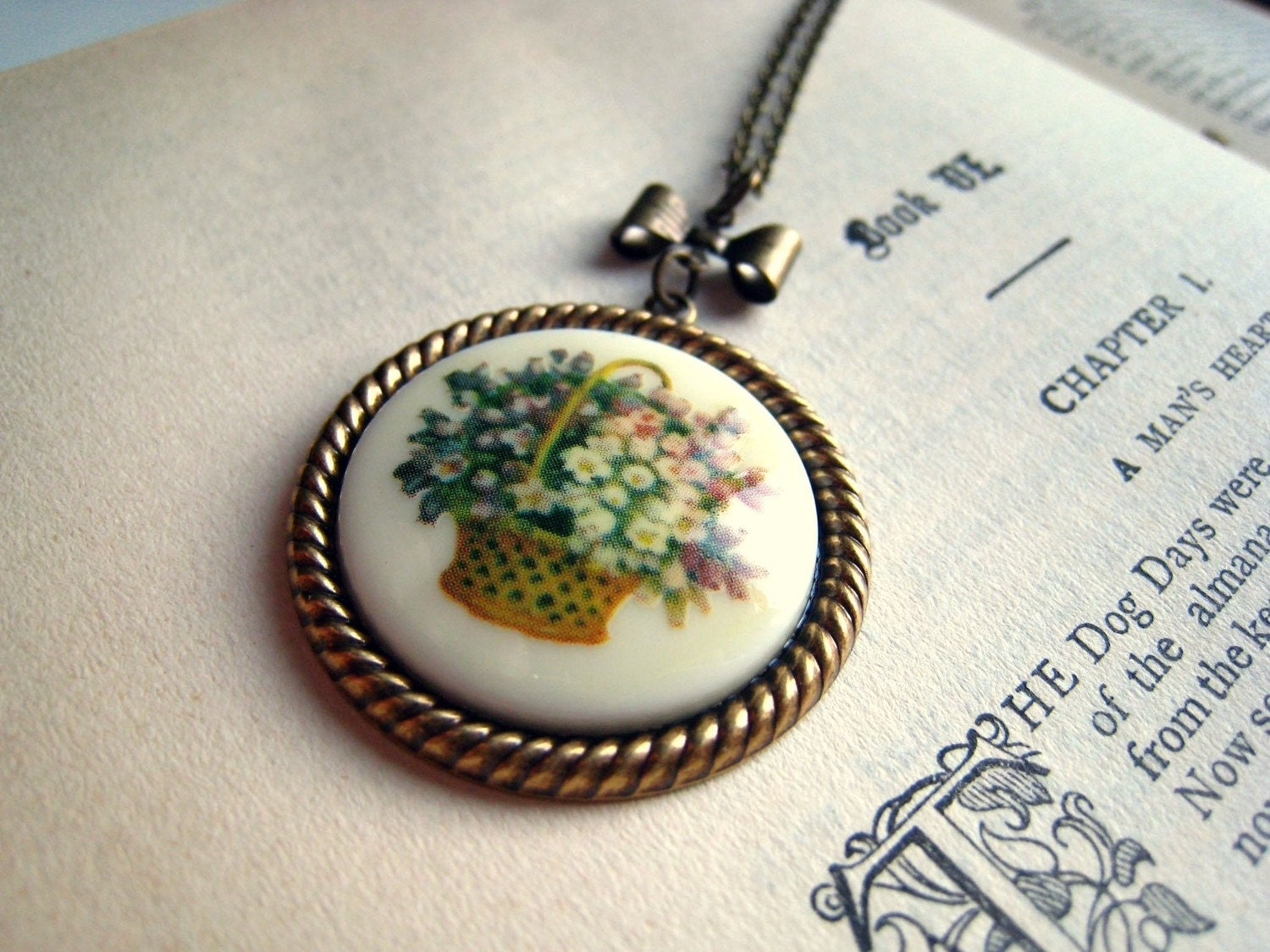 Handmade Vintage Floral Necklace with Ribbon. Flower Girl
