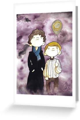 "8 Greeting CARDS set. A detective, his doctor, and a balloon. 4"" x 6"" - BantamBB"