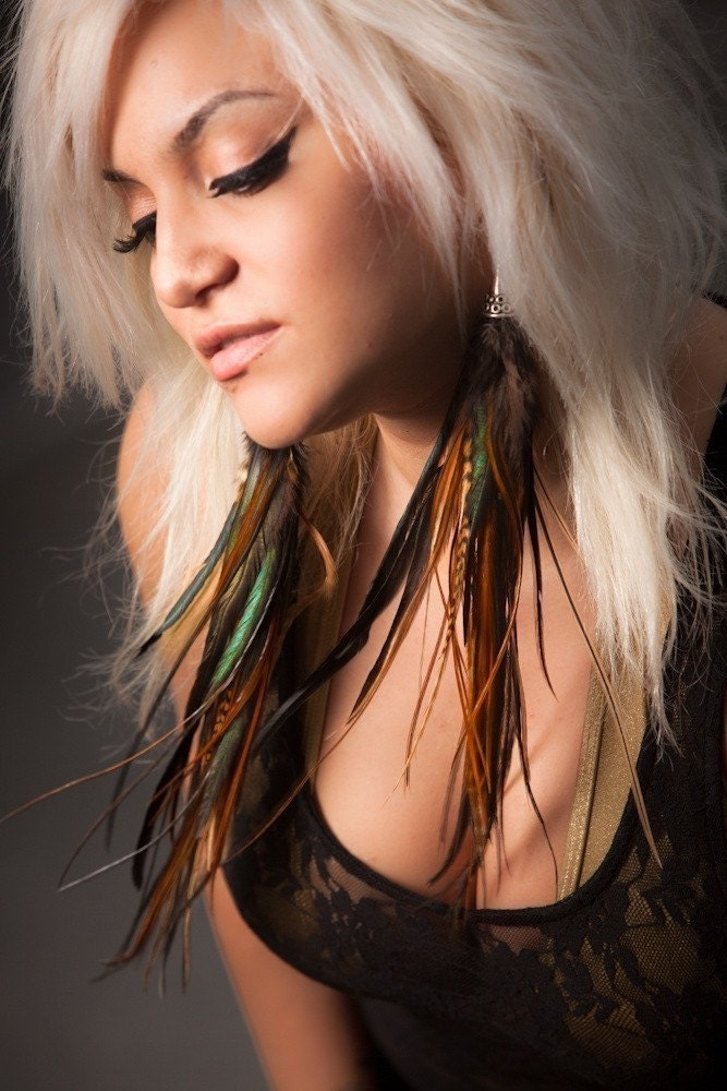 kesha feathers earrings. 14 Inch Feather Earrings