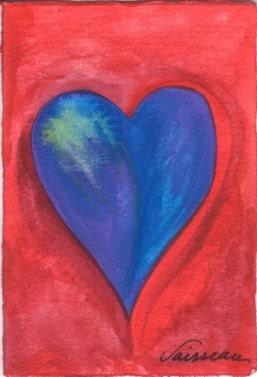 HEART OF A SAILING VESSEL Original Watercolor Painting ACEO Artist Trading Card Heart Miniature Art HEARTFUL ART by RAPHAELLA VAISSEAU