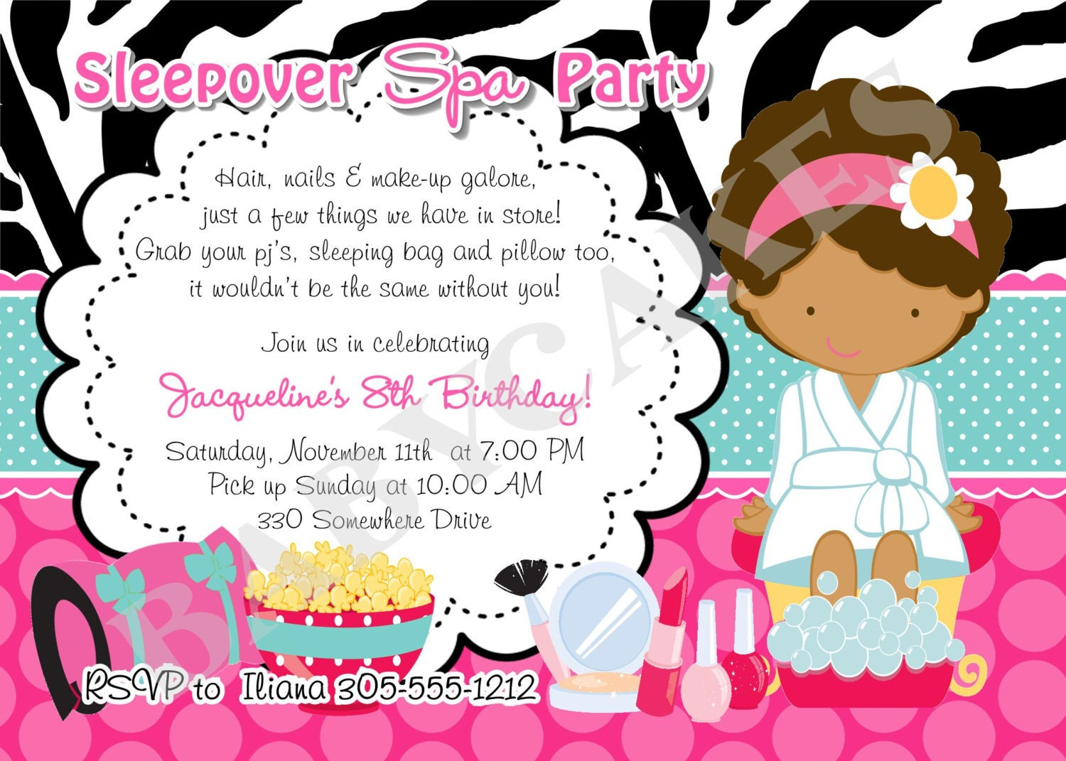 Spa Sleepover Invitation DIY Print Your Own by jcbabycakes