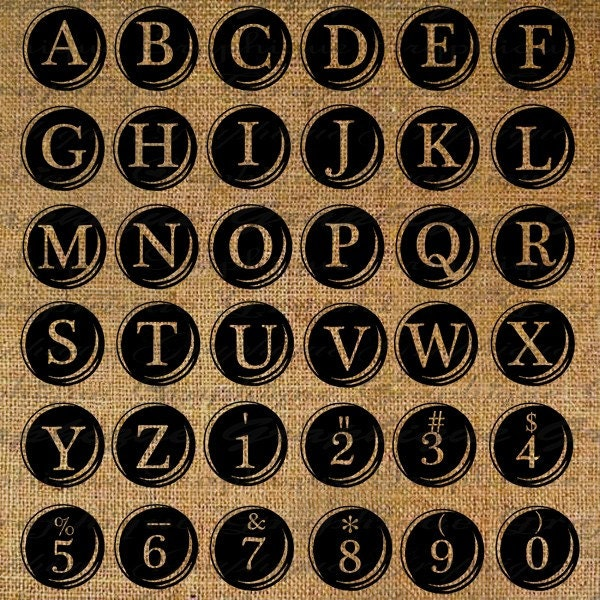 Vintage Typewriter Keys Alphabet Text Typography Word Digital Image Download Sheet Transfer To Pillows Totes Tea Towels No. 1611