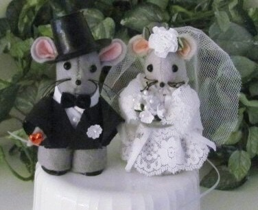 Handmade Collectible Felt Bride and Groom Wedding  Cake Topper  Ornament