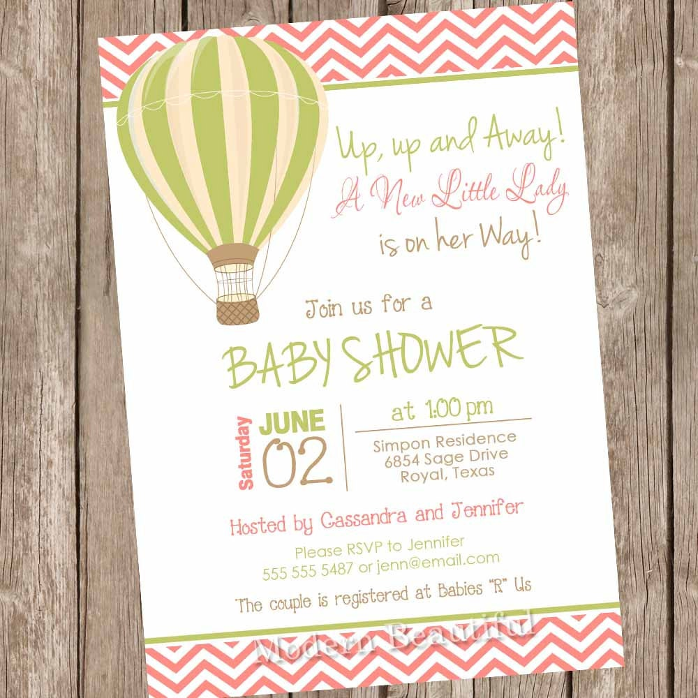 Hot Air Balloon Baby Shower Invitation, up up and away, chevron baby