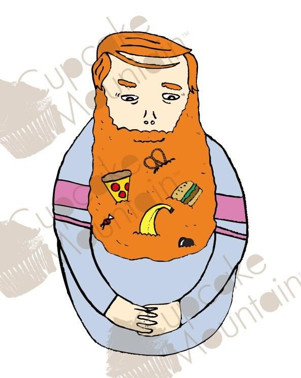 Mister Food Beard - Art Print - 8x10