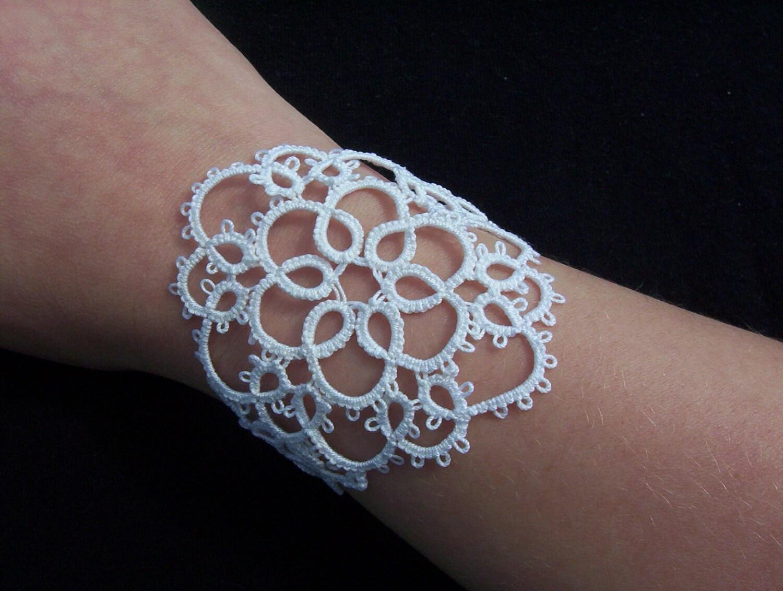 bridal lace bracelet, white cuff bracelet, tatted bracelet, bridal lace, lace cuff bracelet, bridal cuff bracelet, white lace bracelet - MamaTats
