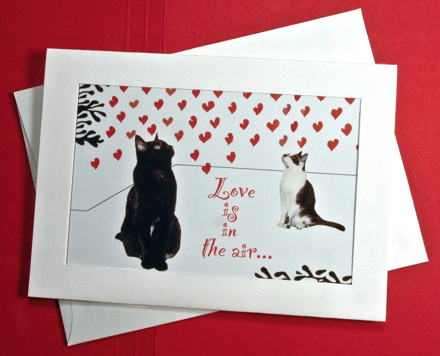 Cat art Valentine Card-Love is in the Air