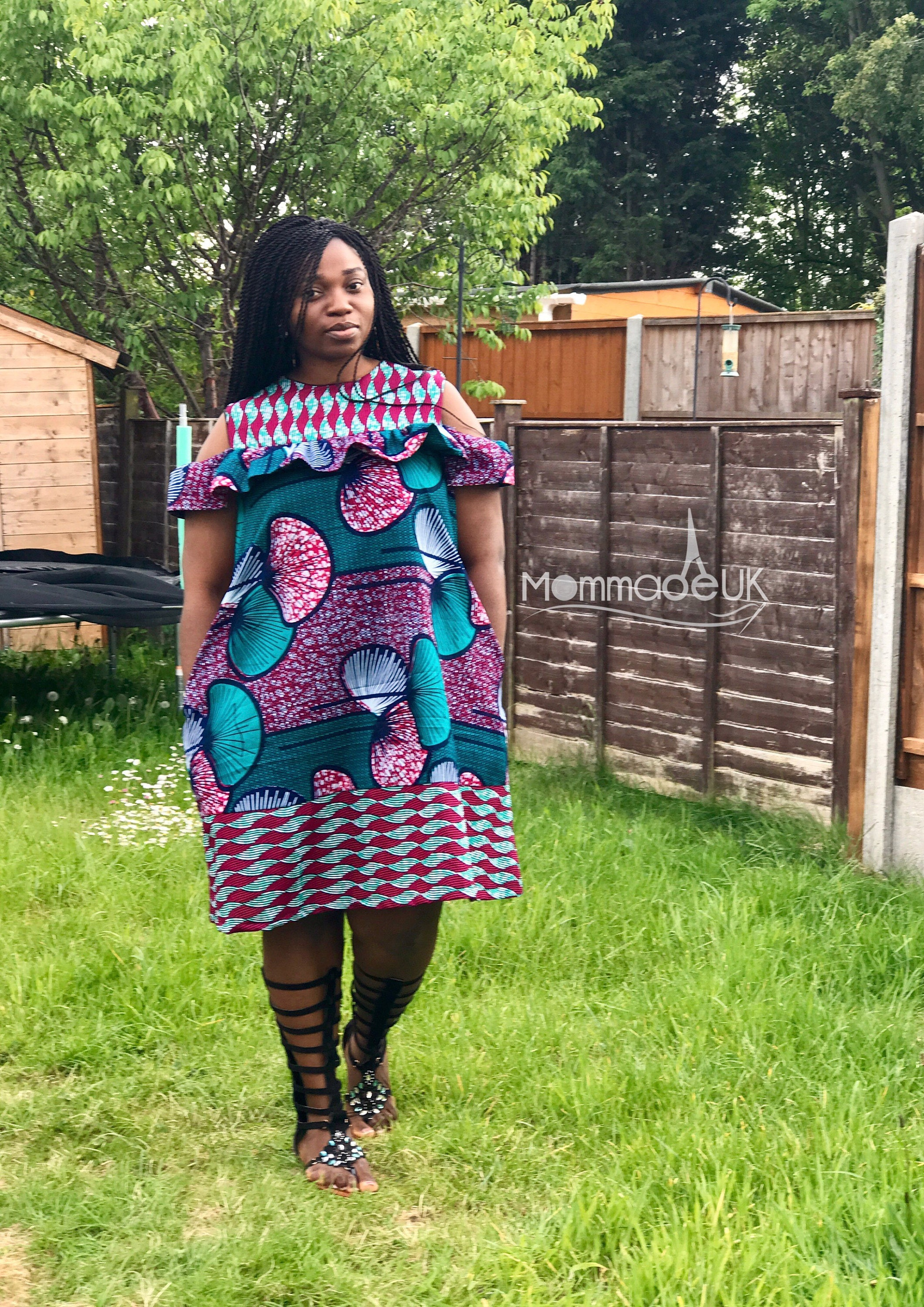 The  Tosin Cold shoulder dress with pockets   ankara dress  shift dress african wax print  plus sizes  african clothing uk sizes 818