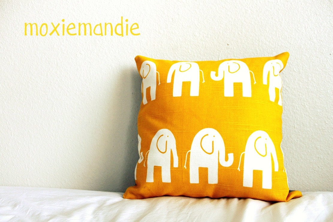 Golden Elephants Nursery Pillow Cover