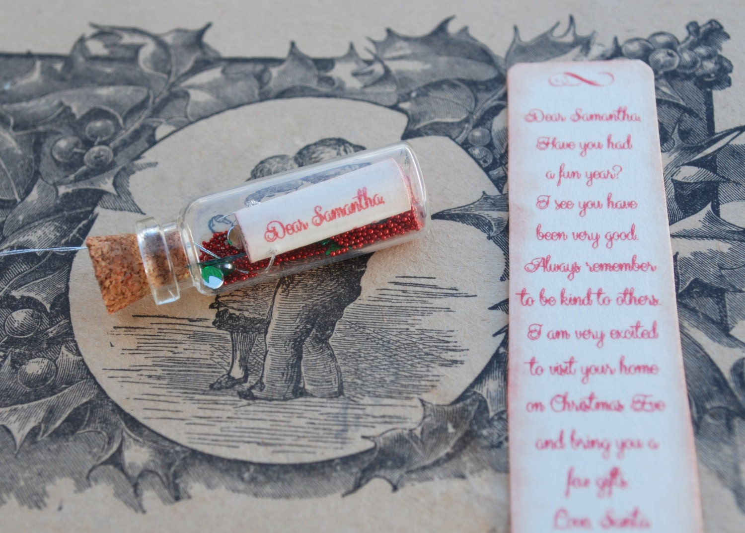 Letter from Santa, Message in a bottle, Christmas Letter, Red, Green - thesetinytreasures