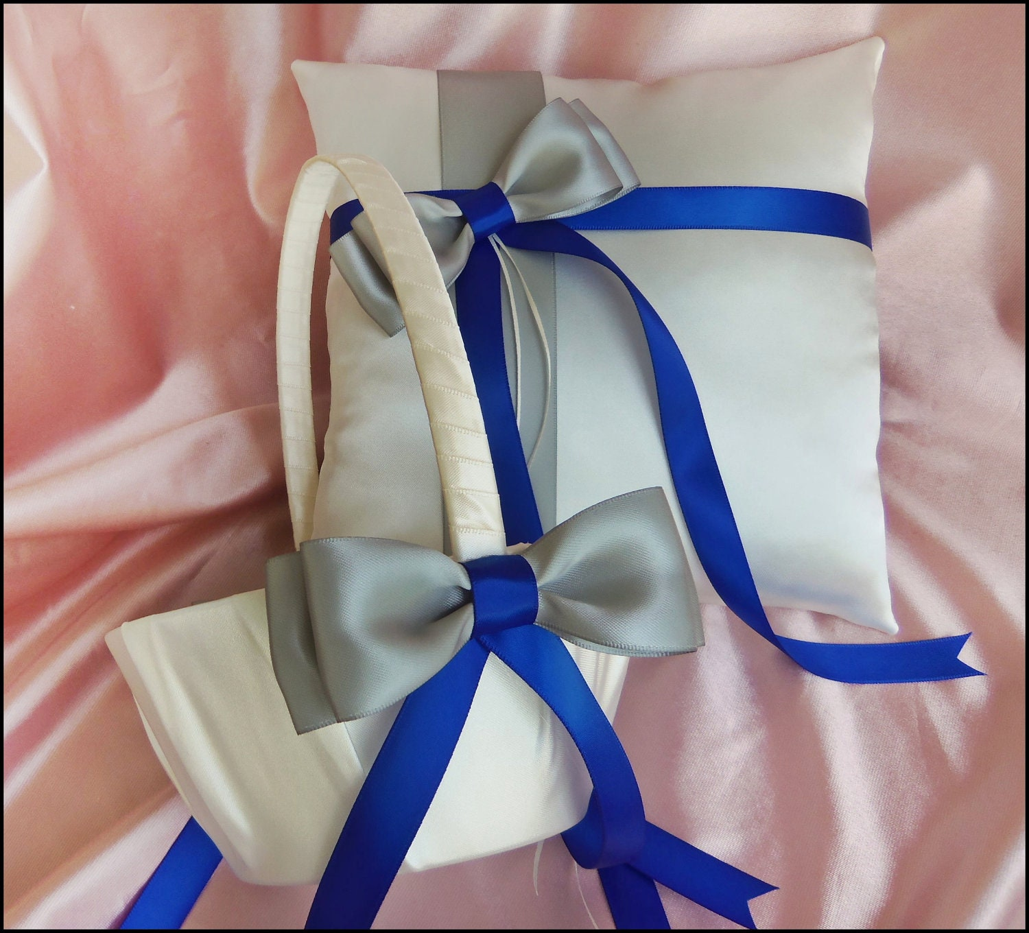 royal blue and grey wedding pillow and basket ring by all4brides. Black Bedroom Furniture Sets. Home Design Ideas