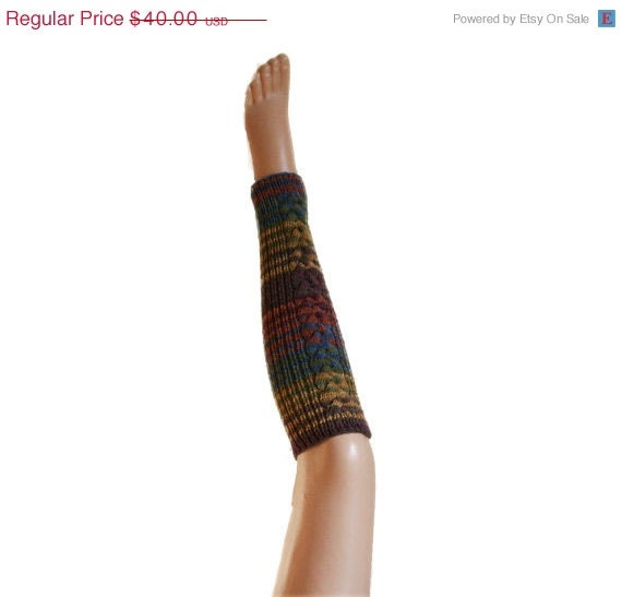 ON SALE Striped Leg Warmers Cable Knit in Multicolor - Winter Fall Fashion - Teens Women Accessories
