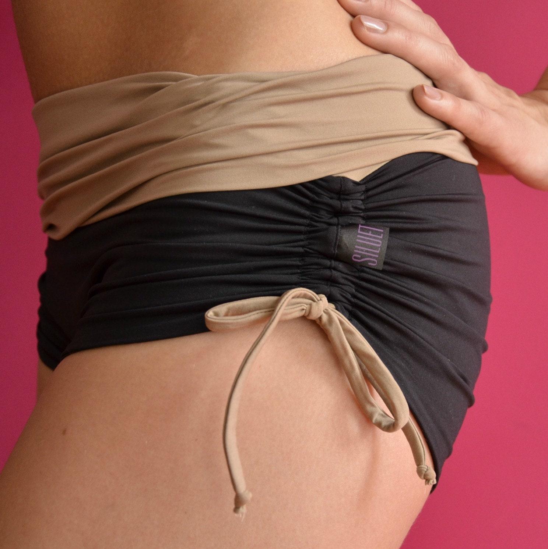 Shorts In Black And Ecru For Bikram Yoga By Siluetmode On Etsy