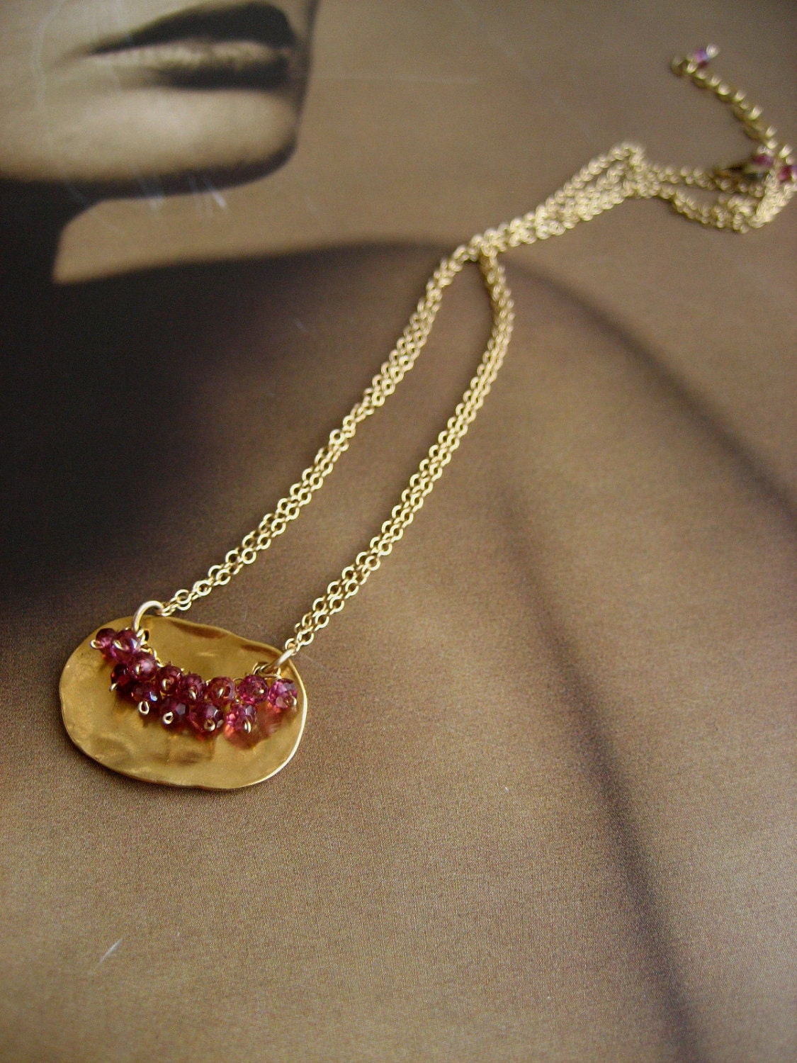 Vermeil and rhodolite organic plaque necklace - solid sterling silver pendant with 14k gold plating - ElfiRoose