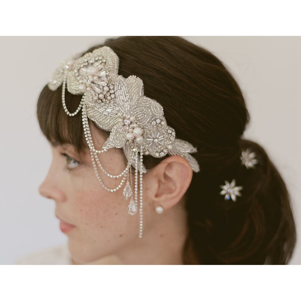 1920s hairpiece Wedding headpiece Bridal hair bands  So Pretty no 830 $385.00 AT vintagedancer.com