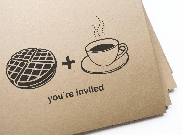 Printable waffle & coffee brunch invitations // Editable DIY Printable PDF - GirlinGearStudio