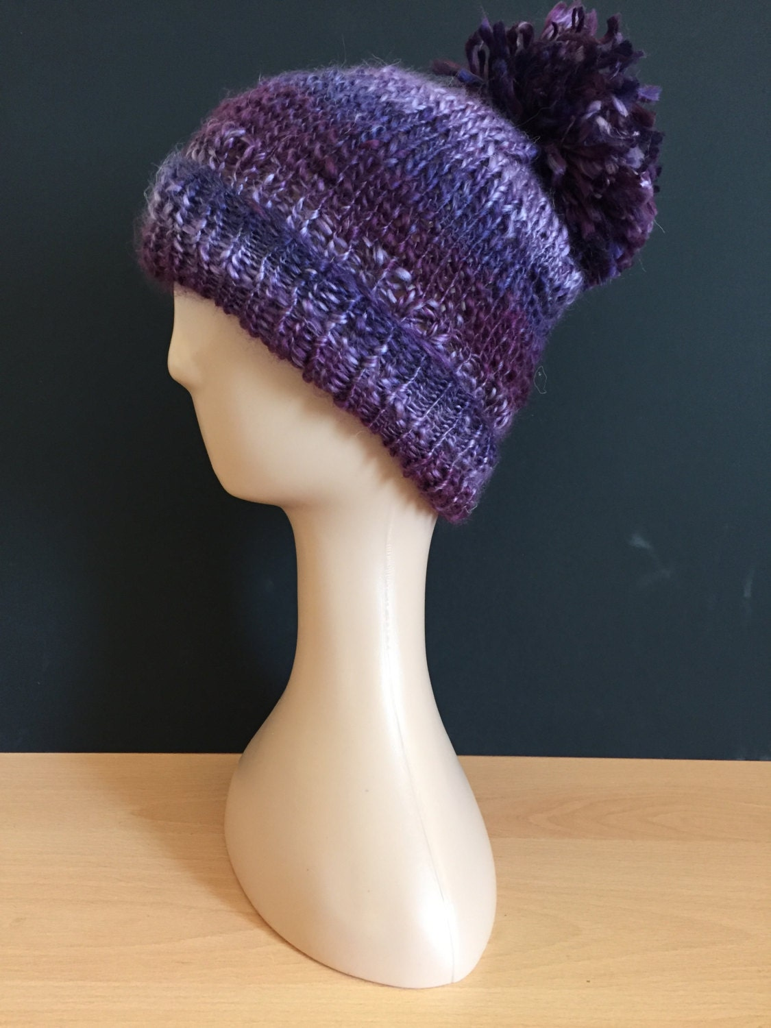 Hand Knitted bobble hat  purple berry mix (arbour)