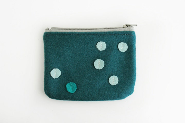 Teal wool and denim Pouch - ziazia