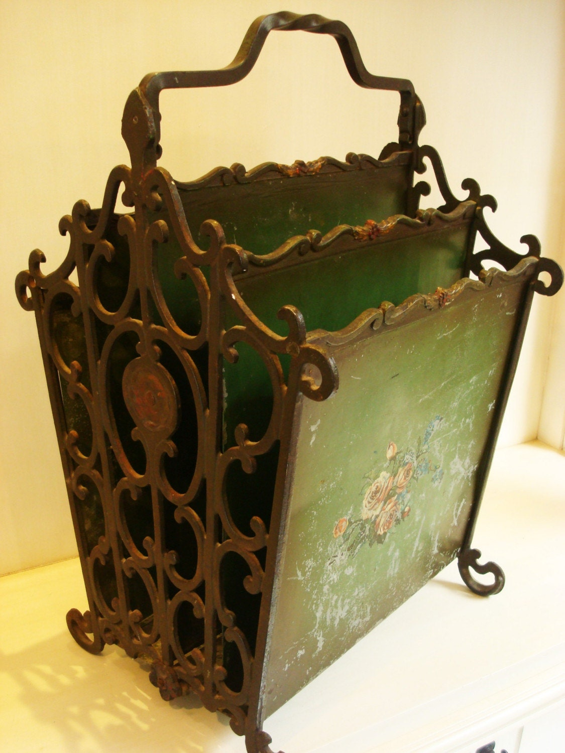 Antique Magazine Rack French Green Art Nouveau By Chasevintage