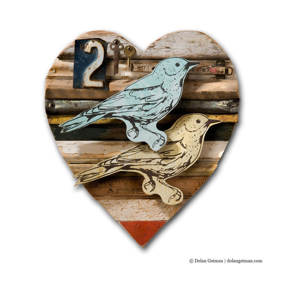 Romantic Lovebird Wall Art, Heart Shaped Valentine's Day Gift, Faux Taxidermy, Rustic Decor Made to Order - dolangeiman