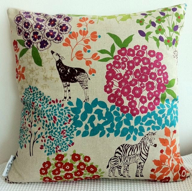Japanese colorful cushion cover with animal and plant motif, throw pillow, decorative cushion - miaandstitch