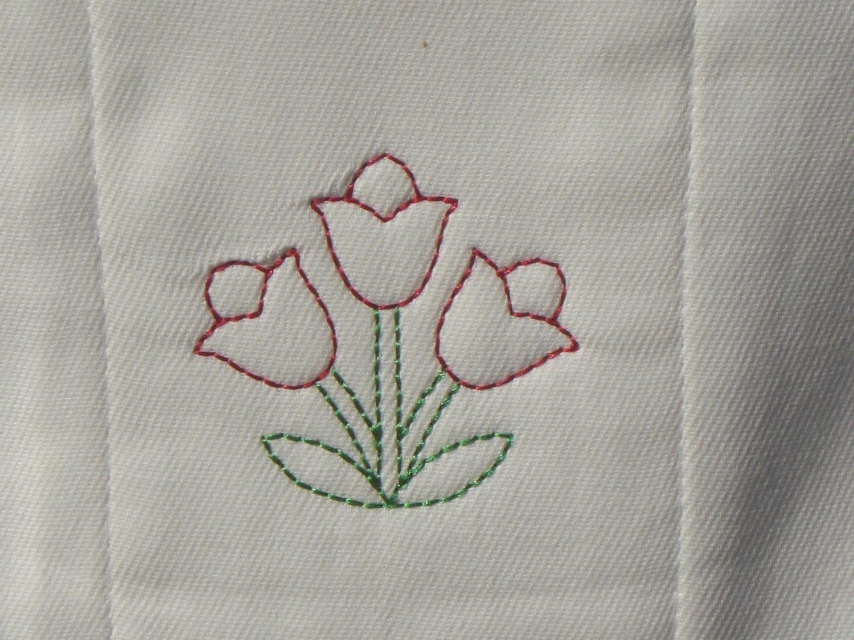 SAMPLE SALE - Embroidered Three Tulips Burp Cloth
