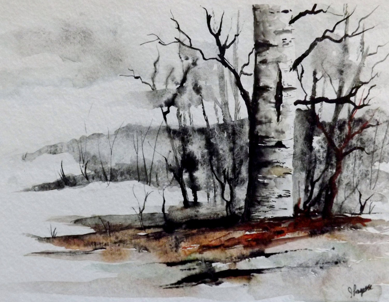 "Original Watercolor Painting - ""Fat Birch"" - pinetreeart"