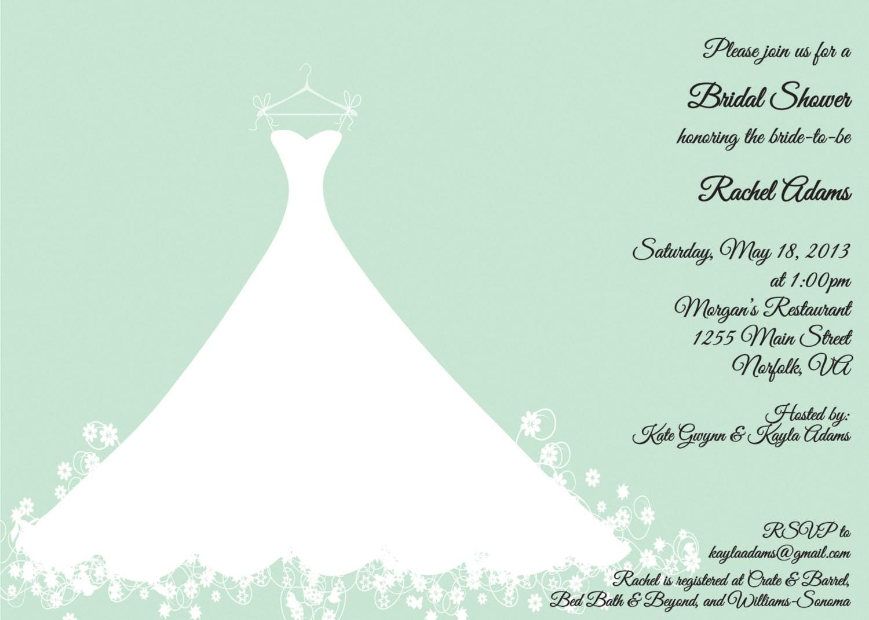 Mint Green Bridal Shower Invitation - Wedding Gown - Bridal Luncheon ...