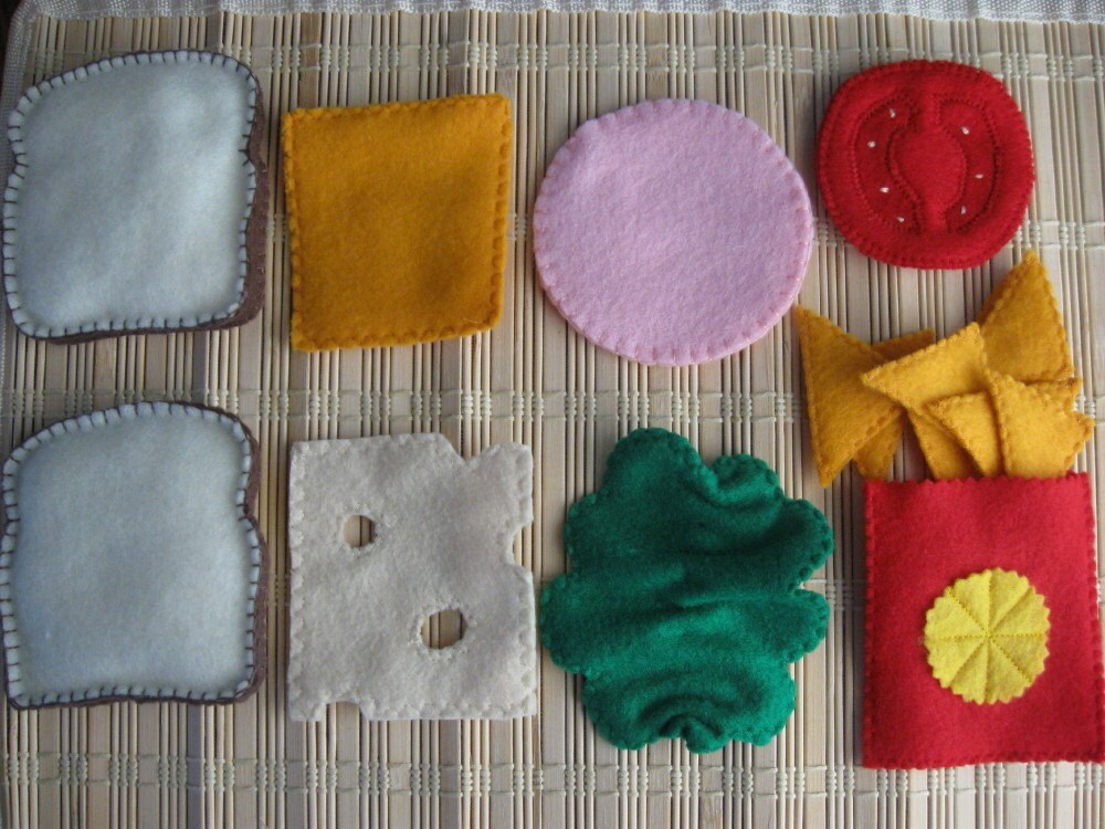 Felt Sandwich Set with Nacho Cheese Chips - Felt Play Food
