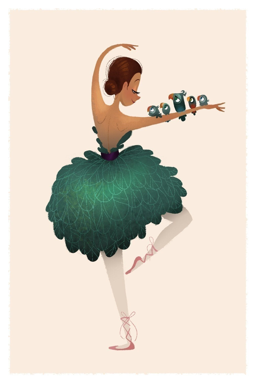 Birdie Ballerina Mini Print
