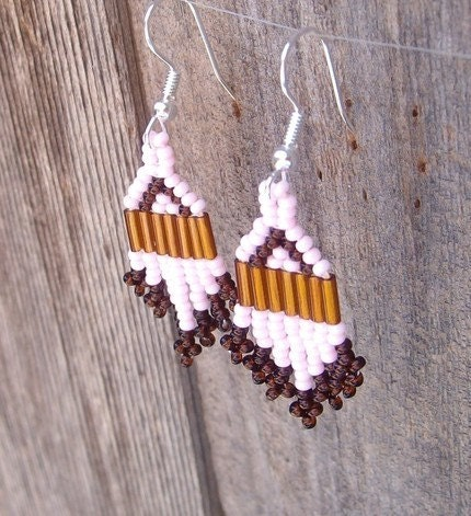 Petite Pink Brick Stitch Earrings - Mini Series - SimplyRaevyn by EtsyForCharity on Etsy from etsy.com