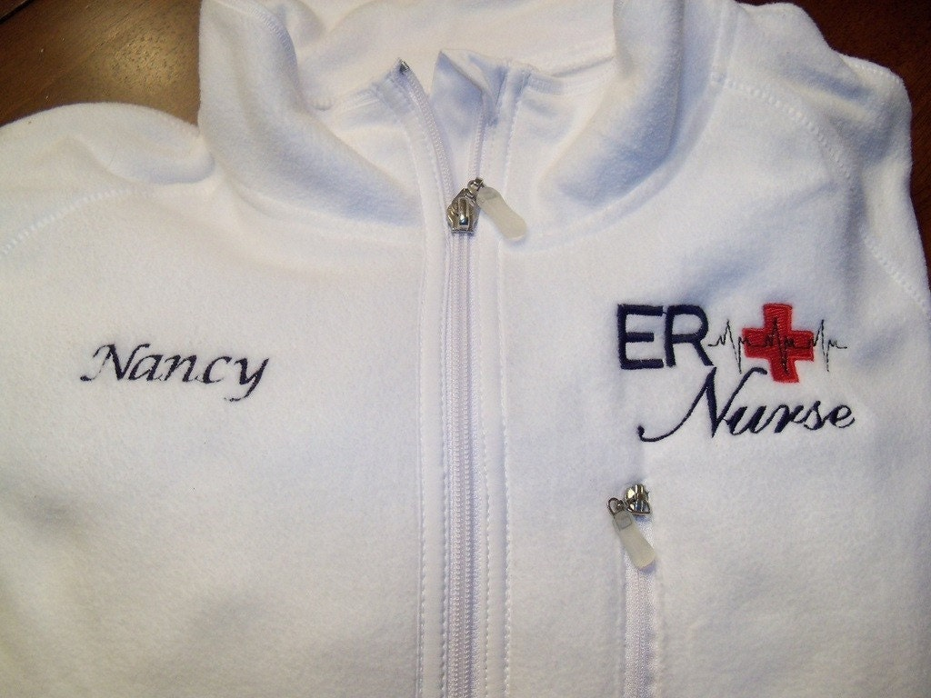 er nurse fleece embroidered jacket by bubblesemb on etsy