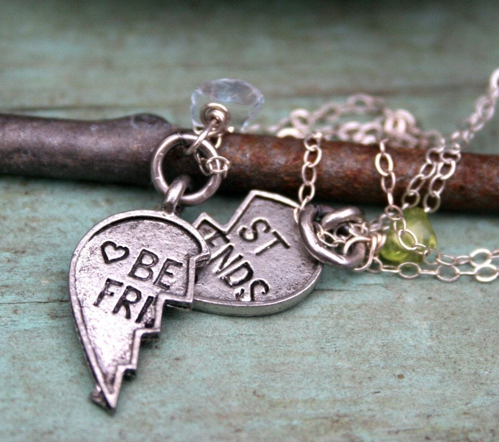 Best Friends charm necklace with birthstones-antiqued silver