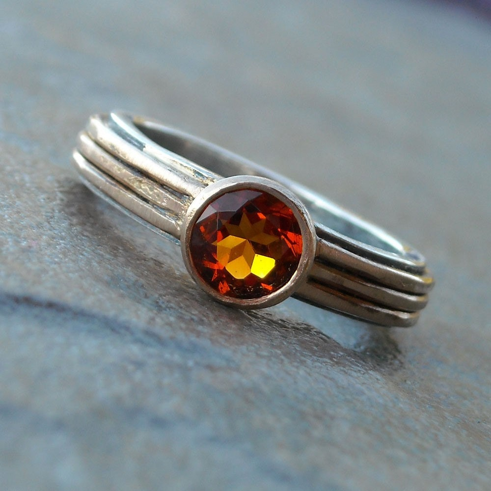 Fair Trade Citrine, Recycled 14k Gold, and Recycled Sterling Silver Ring, size 7.5