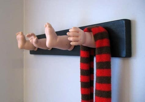 Dismembered Baby Doll Coat Rack by OneLuckyFish via Etsy.com