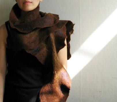 brown nuno felted muffler shawl wrap