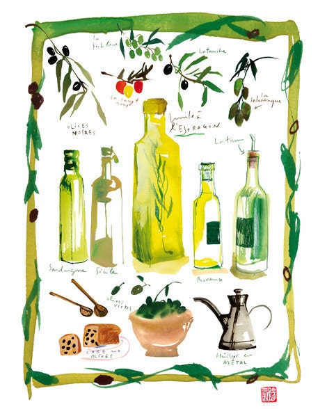 Kitchen art, Olive oil poster, Watercolor illustration, Food print, Kitchen decor, Italian cooking, Chartreuse