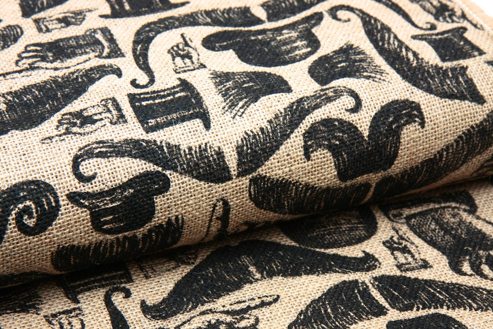 Printed Jute Burlap Fabric Mustaches And Top By