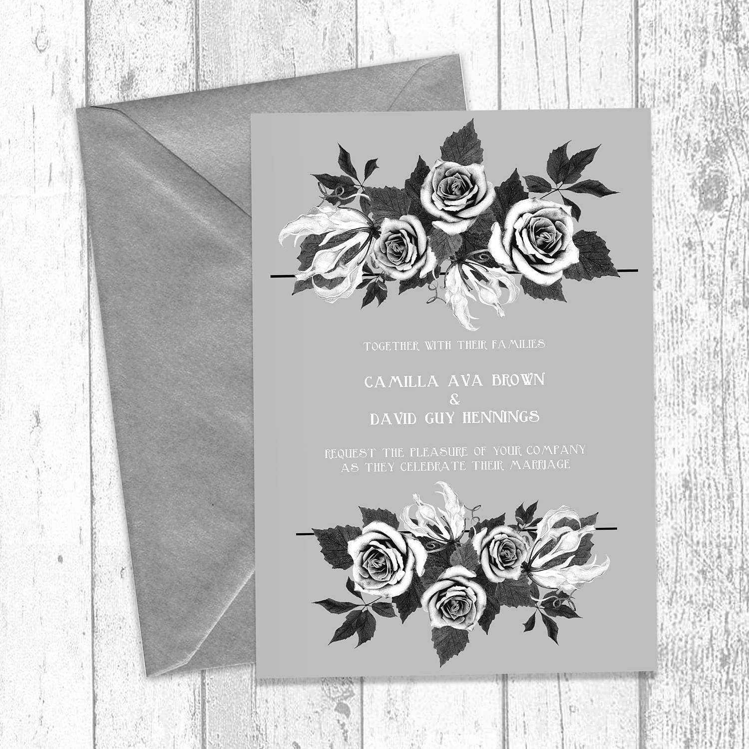 French Grey Bouquet Wedding Invitations Printed with Silver White Envelopes and Printable diy Design  A5 Wedding Invites  Gray Floral