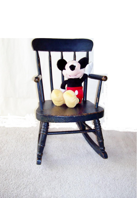 Antique Wooden Child 39 S Rocking Chair Primitive Indigo By