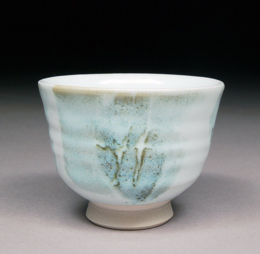 Handmade White Stoneware Small Tea cup Yunomi glazed with Nuka and Alberta Slip - shyrabbit
